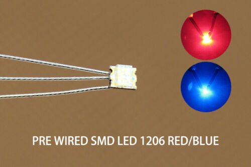 DT1206RB 20pcs Presoldered litz wired leads Bicolor REDBLUE SMD Led 1206 DUAL