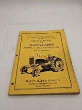 Massey Harris Repair Parts List Model 33 33k Tractor Serial 1001 And Up