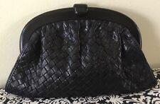 "Bottega Veneta RARE Black Woven Leather 11x7"" Clutch Lucite Frame Purse Gorgeous"