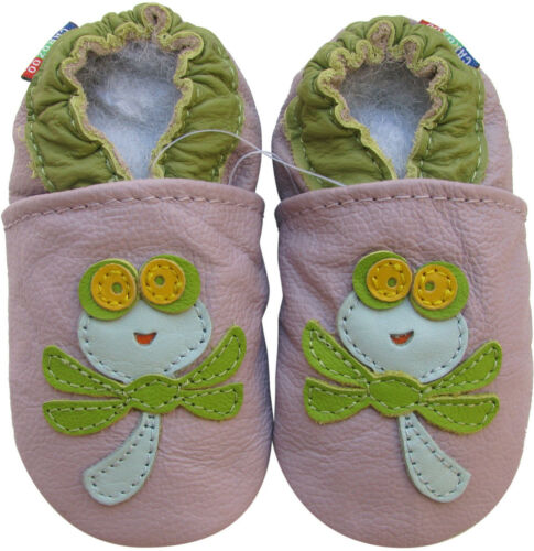 carozoo dragonfly light purple 6-12m C1 soft sole leather baby shoes