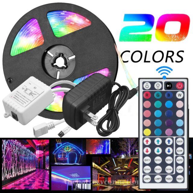 5M RGB 5050 Waterproof LED Strip light SMD 44 Key Remote 12V US Power Full LOT