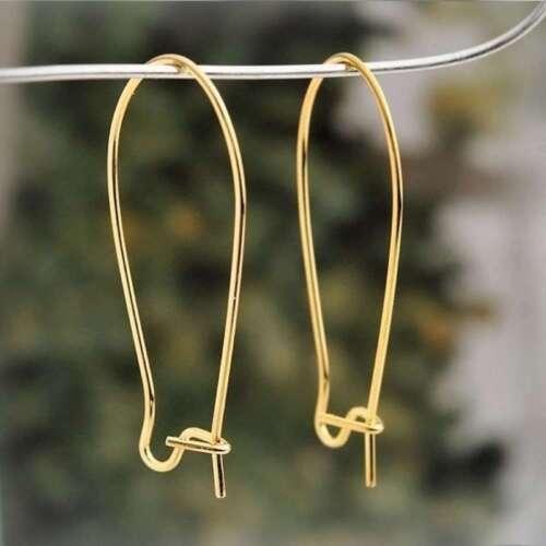 67pcs Eisen Ohrring Ohrhaken Ohrringverschluss 35x15mm Gold//Nickel Plated
