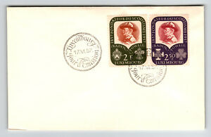 LUXEMBOURG-1957-SCOUT-Serie-FDC-endommage-retour-rabat-Z12808