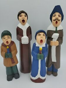 VINTAGE-CHRISTMAS-HOLIDAY-CAROLER-CAROLERS-FAMILY-WOODEN-HAND-CARVED-PAINTED-4