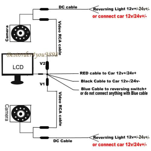 """2x 18 LED Coche Cámara De Marcha Atrás 12V//24V blanco 9/"""" Visión Trasera Monitor"""