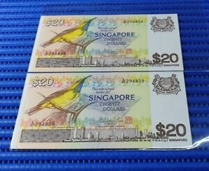 2X-Singapore-Bird-Series-20-Note-A-67-294858-294859-Run-Dollar-Note-Currency