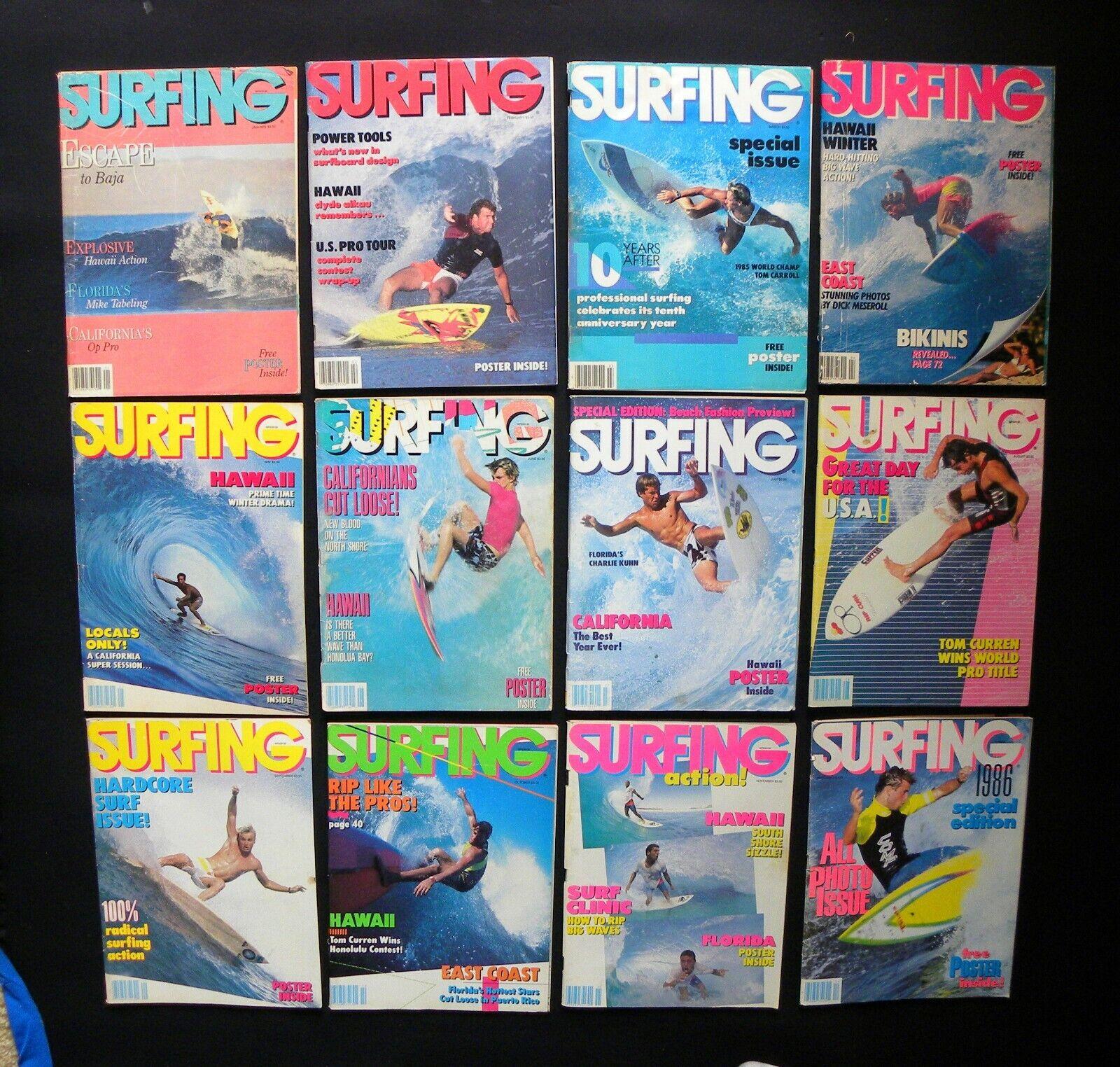 Surf Revista 1986 VOL.22 Lote de 12 temas surfista Longboard HAWAI