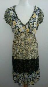 M&S SIZE 14 YELLOW & BLACK MIX FLORAL SHEER GYPSY STYLE TIERED RUFFLE EDGE DRESS