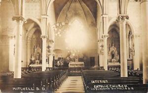 RPPC-Mitchell-South-Dakota-Catholic-Church-Interior-ca-1910s-Vintage-Postcard