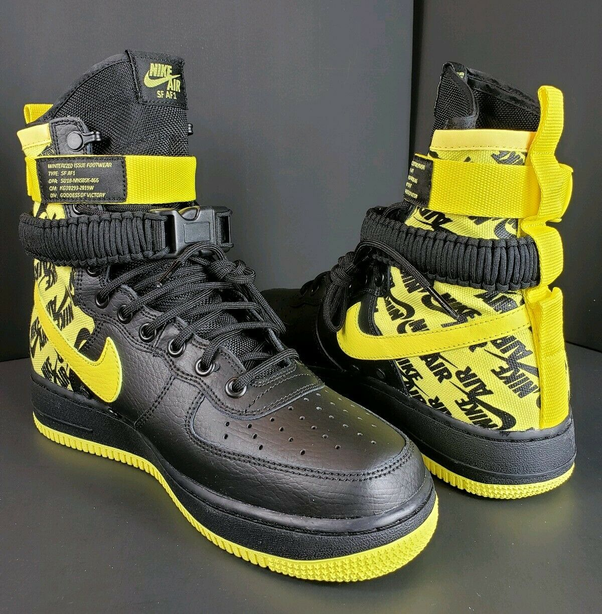 Men's Nike SF AF1 Item Number AR1955-001 Size 8.5 Black and Yellow