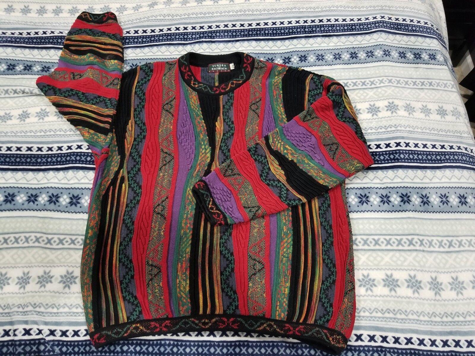 XL Tundra Bachrach Sweater Coogi Wild 90s Biggie Hip Hop 100% Mercerized Cotton