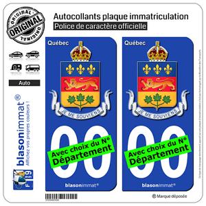 Québec 2 Stickers autocollant plaque immatriculation Auto Armoiries