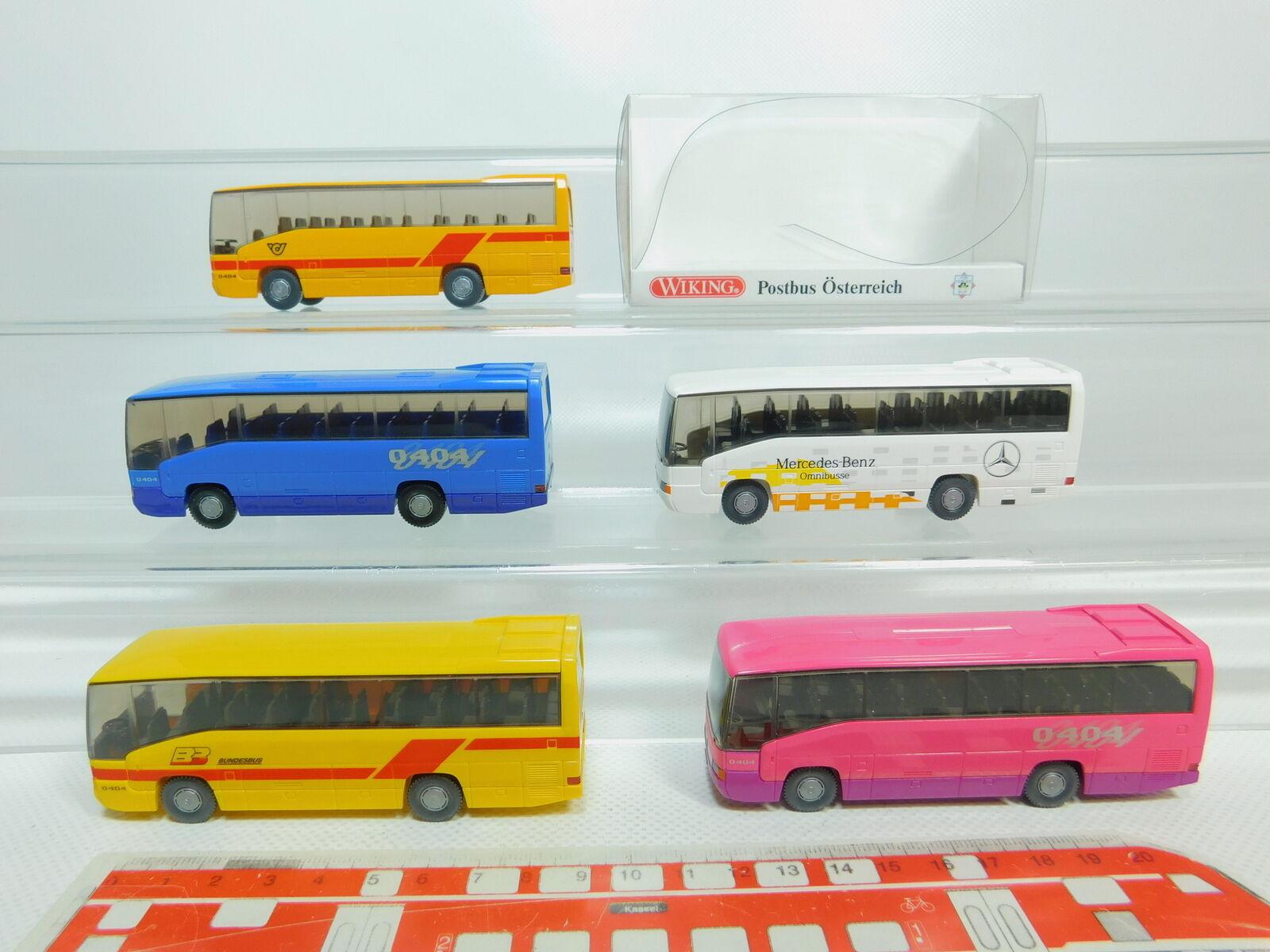 Bo789-0, 5  5x WIKING h0 1 87 bus Mercedes O 404  BB  82-02 PTA etc, S.G. 1x neuf dans sa boîte