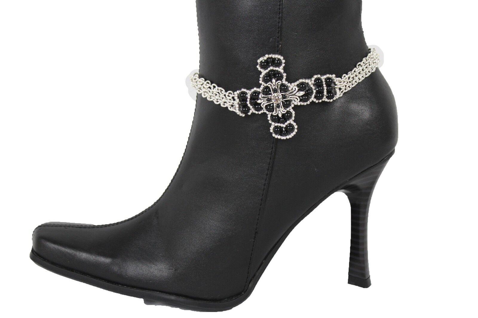 Women Silver Chain Boot Bracelet Anklet Shoe Black Cross Religious Charm Jewelry