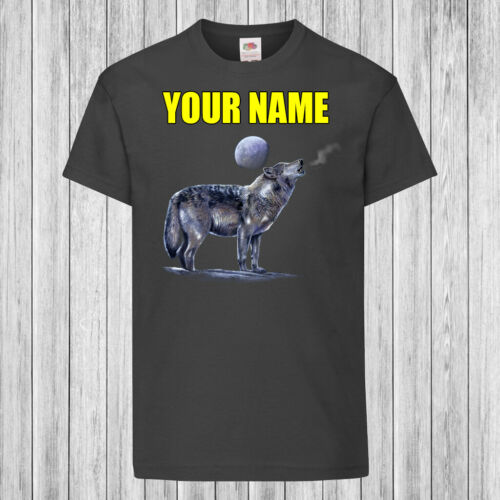 Moon Wolf Kids T-Shirt DTG Children Personalized with name