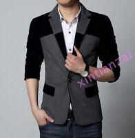 Stylish Mens Casual Slim fit One Button Velvet Suit Blazer Coat Jackets M-6XL