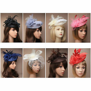 Image is loading Ladies-Hat-Fascinators-Alice-Band-Black-Ivory-Silver- 8159cff63e4