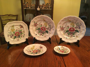 Vintage-5pc-Set-of-Copeland-Spode-Raeburn-Dishes-S-230-Great-Britain