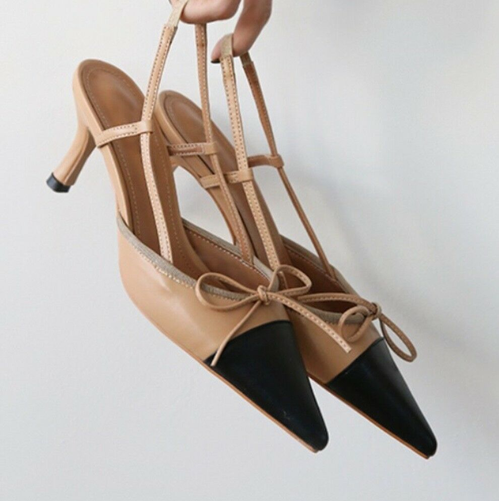 Calfskin Calfskin Calfskin Leder Colourblock with Bow Kitten Heels Slingbacks Pump Schuhes 53a28f