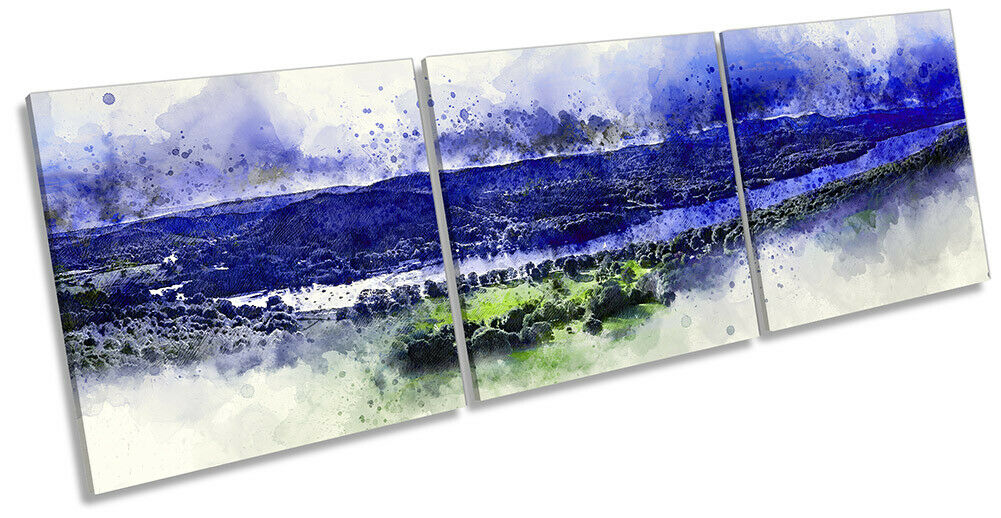 Lake District Windermere Picture CANVAS WALL ART Triple Print Blau