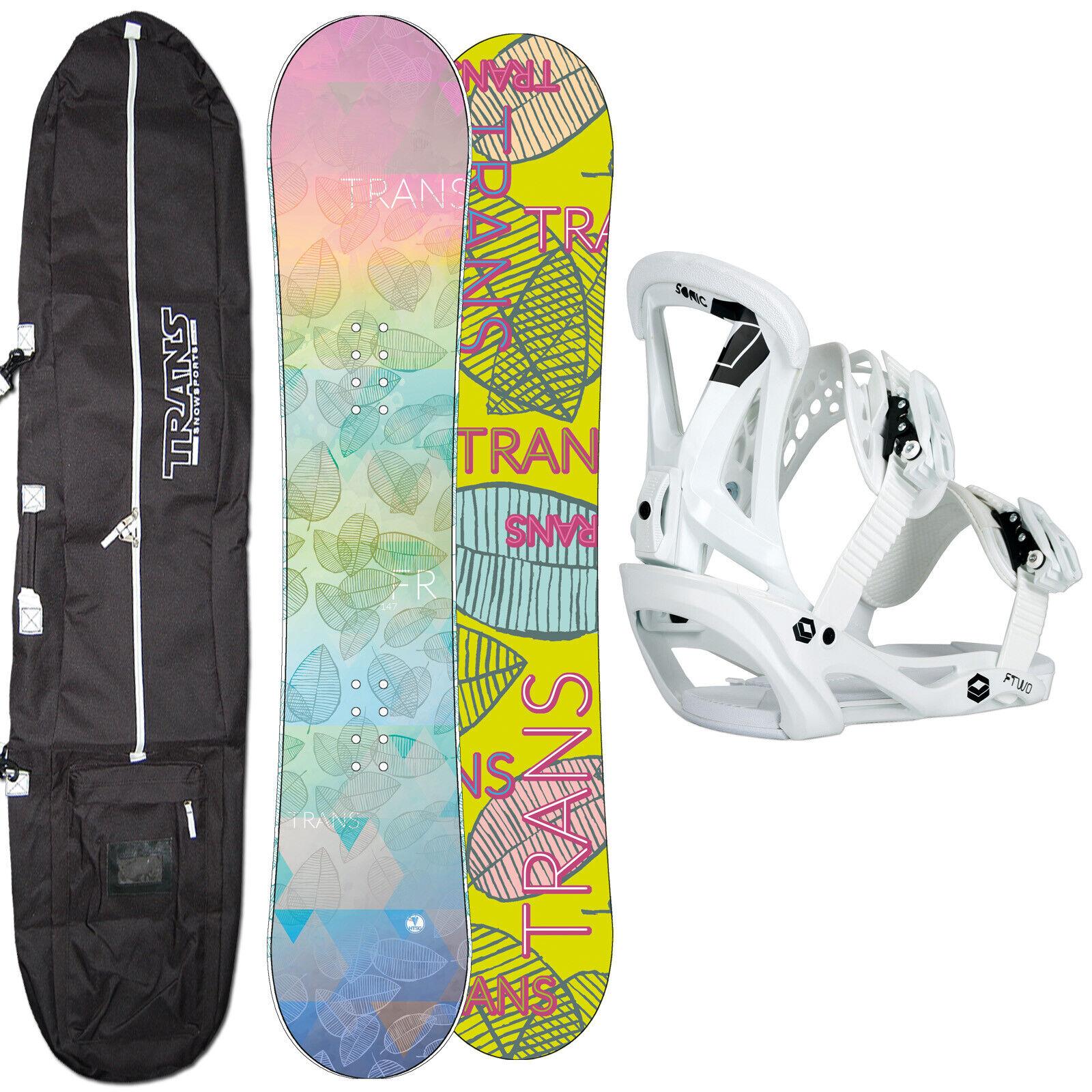 DAMEN SNOWBOARD SET TRANS FR 143 CM 2020 + FTWO SONIC BINDUNG GR. M + BAG