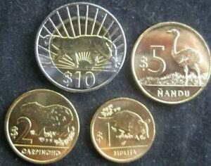 Uruguay set of 4 coins 1-10 pesos 2011-2012 UNC
