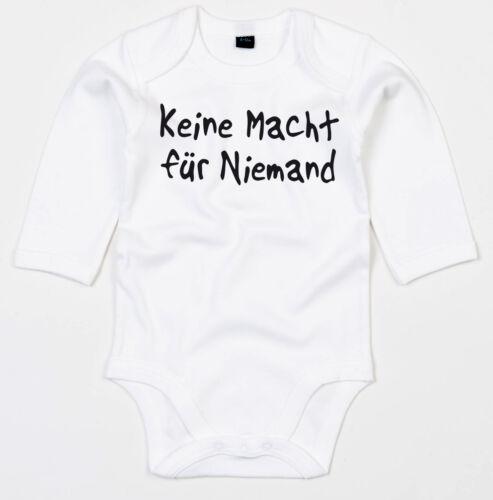 KEINE MACHT FÜR NIEMAND Black print Langarm Body BIO-Baumwolle white