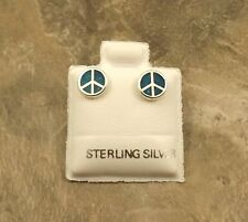 Sterling Silver & Turquoise Enameled Peace Sign  Stud Earrings - 0194