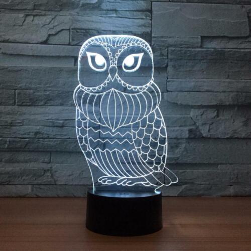 3D bird owl cartoon illusion change led touch table night light usb lamp Kids