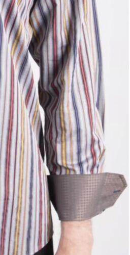 Luchiano Visconti Long Sleeve Shirt Men/'s Herringbone Multi Striped #3741
