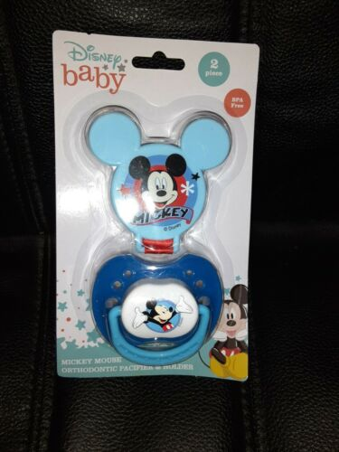 Disney Baby Mickey Mouse Pacifier And Pacifier Clip NIP  NEW Paci