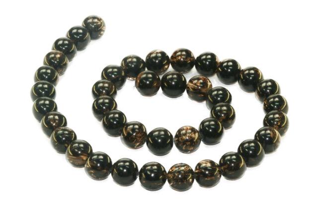 Schwarzer Quarz 10 mm Kugeln Strang Schmuckstein Perlen günstig kaufen