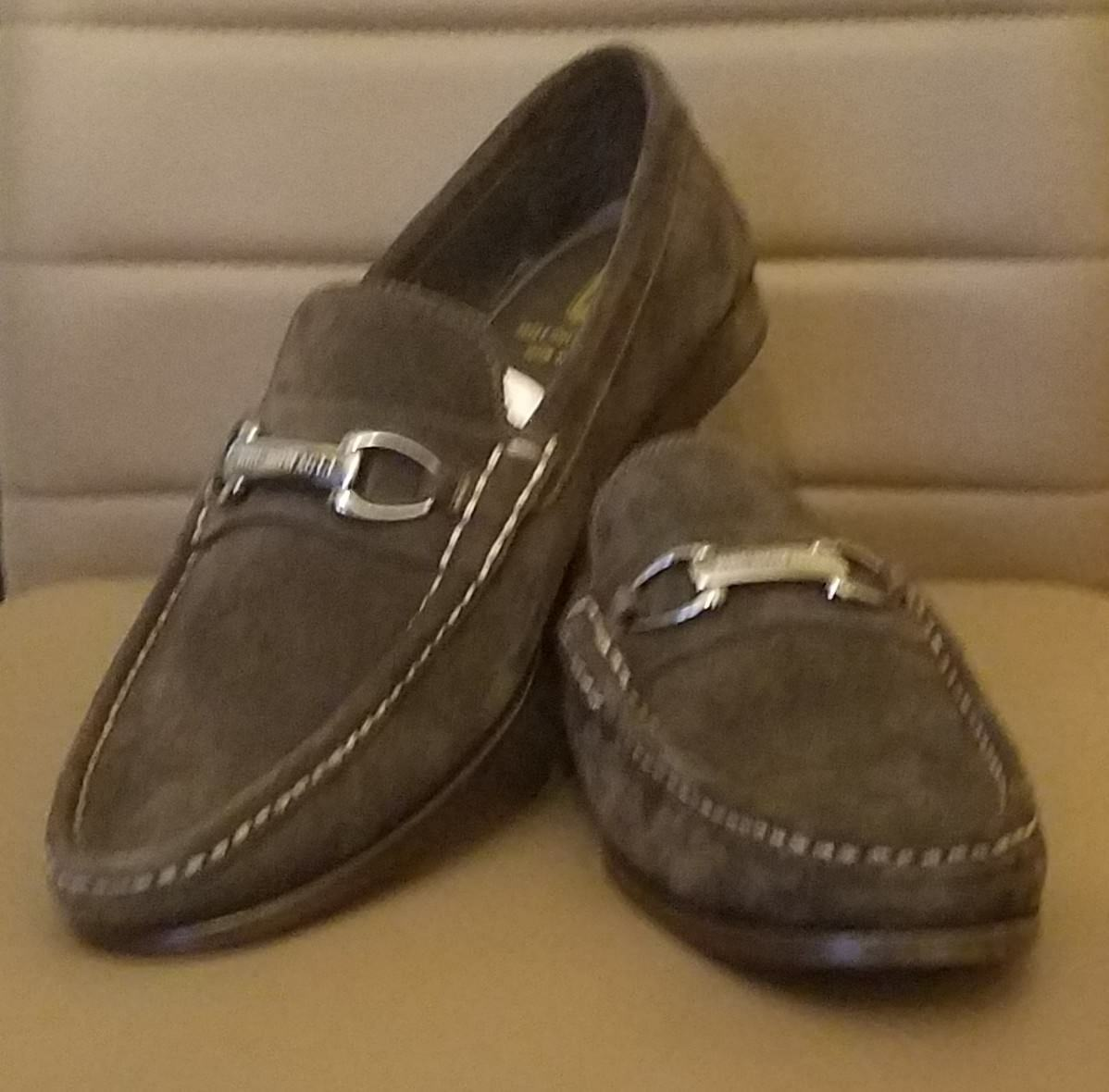 BRUNO MAGLI SHOES DARK BROWN SUEDE TOWNSEND MEN LOAFERS  9.5 NEW