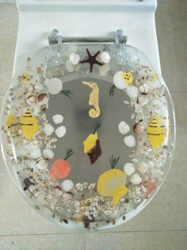"""Seahorse Seashells Acrylic Round shaped Toilet Seat Clear 17/"""" INCH"""