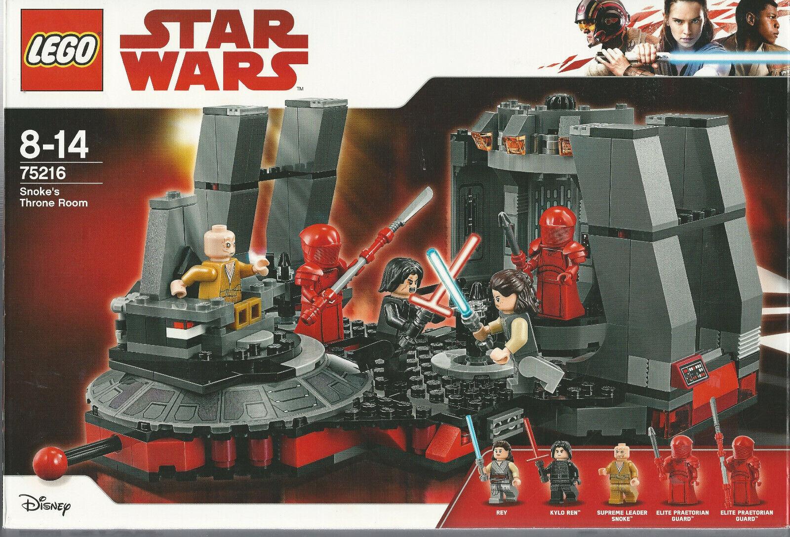 LEGO estrella guerras 75216 SNOKE'S THRONE ROOM nuovo Nuevo  NIB Rey Kylo Ren Praetorian G  in cerca di agente di vendita