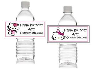 Image Is Loading 10 Personalized Hello Kitty Birthday Water Bottle Label