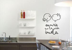 Vinilo decorativo sonrie que la vida vuela decoración hogar stickers decals