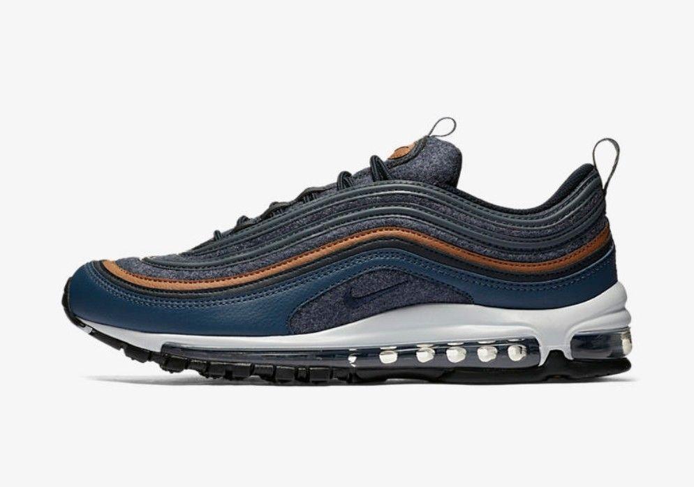 New Nike Men's Air Max 97 Premium Shoes (312834-400)  Thunder Blue/Dark Obsidian