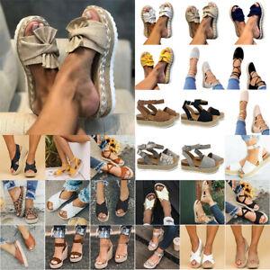 Womens Party Straw Espadrilles Flat/Wedge Platform Straps/Slip On Sandals Shoes