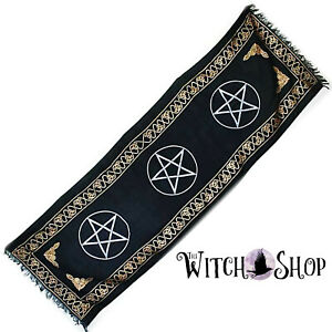 22x72-034-THREE-PENTAGRAM-BLACK-ALTAR-CLOTH-Wicca-Pagan-Witchcraft-Pentacles