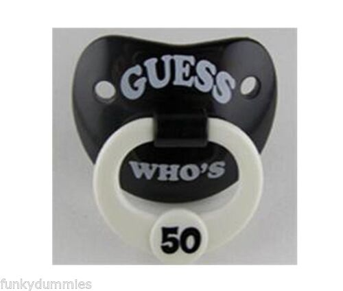 """**NEW** BILLY BOB Pacifier Soother Dummy /""""GUESS WHO/'S 50/"""" Great party gift!!"""