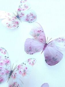 Pink Shabby Chic Butterflies 5 in Flight 3D Butterfly Wall Art Home Accessories