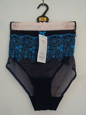 BNWT M/&S Limited Lingerie 2 Pk Black White Embroidered Brazilian Briefs Knickers