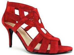 red mid heel sandals