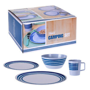 Melamine Camping Outdoor Dining Dinner Plates Cups 16 Piece Boat Caravan Picnic