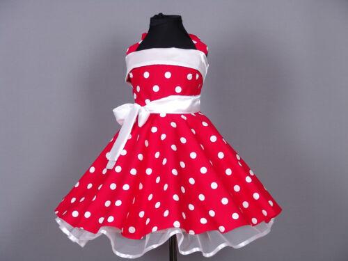 Mädchen 50er Jahre Rockabilly Kleid zum Petticoat Einschulung Gr.104-158rot//weiß