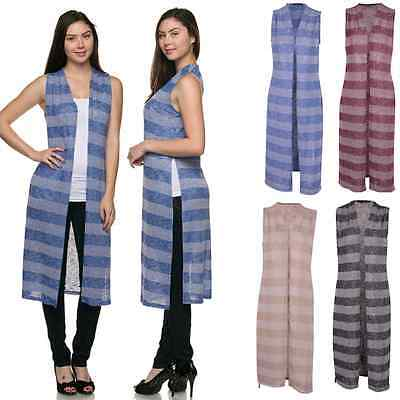 Women Striped Print Side Slit Open Duster Sleeeless Summer Long Cardigan Vest