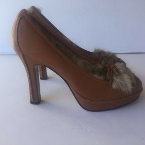 NAUGHTY MONKEY COGNAC BROWN LEATHER FUR HEELS STIL