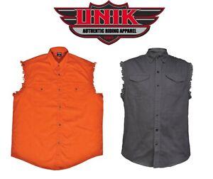 BIKER-SHIRT-BLACK-ORANGE-MEN-039-S-MOTORCYCLE-CUT-OFF-SLEEVE-SLEEVELESS-DENIM