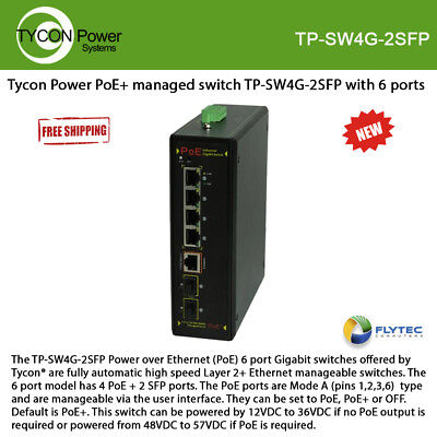 managed switch TP-SW4G-2SFP with 6 ports Tycon Power PoE